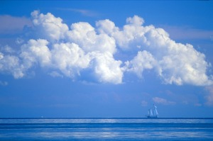 blue sky sailboat